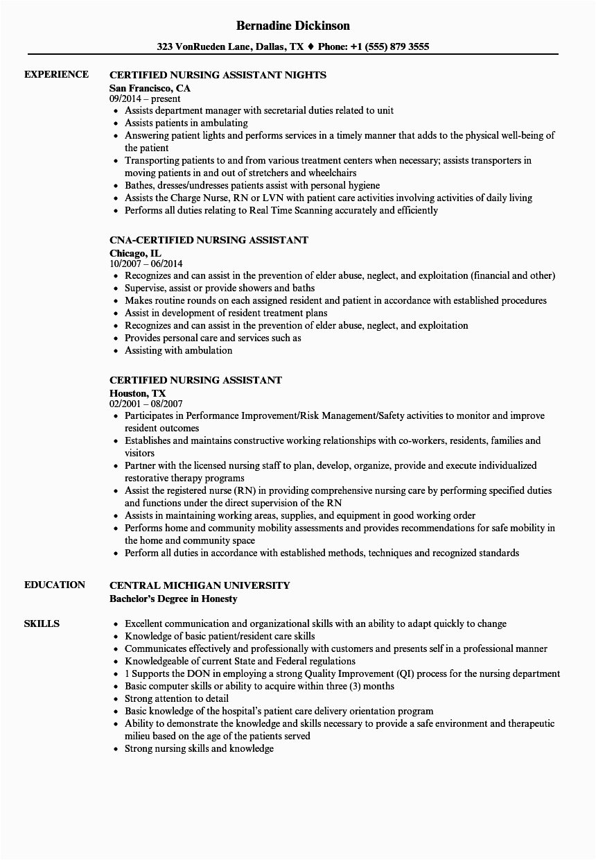 resume examples for nursing assistants