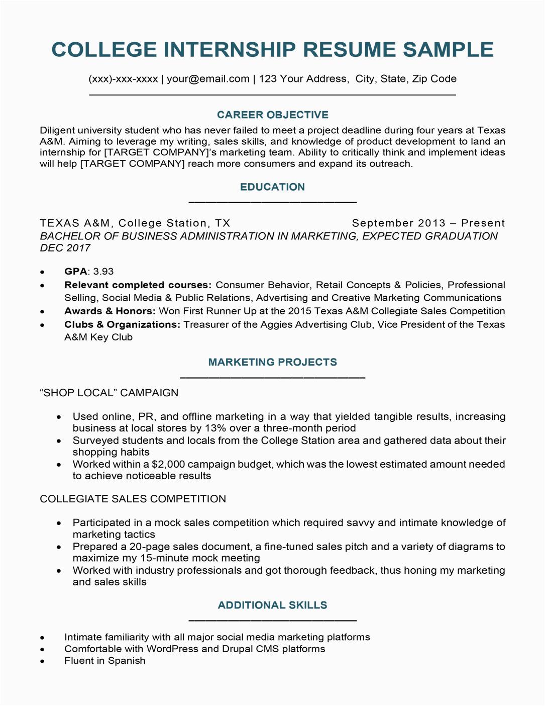 college student resume sample