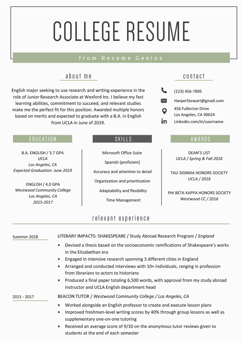 Sample Resume Skills for College Students College Student Resume Sample & Writing Tips