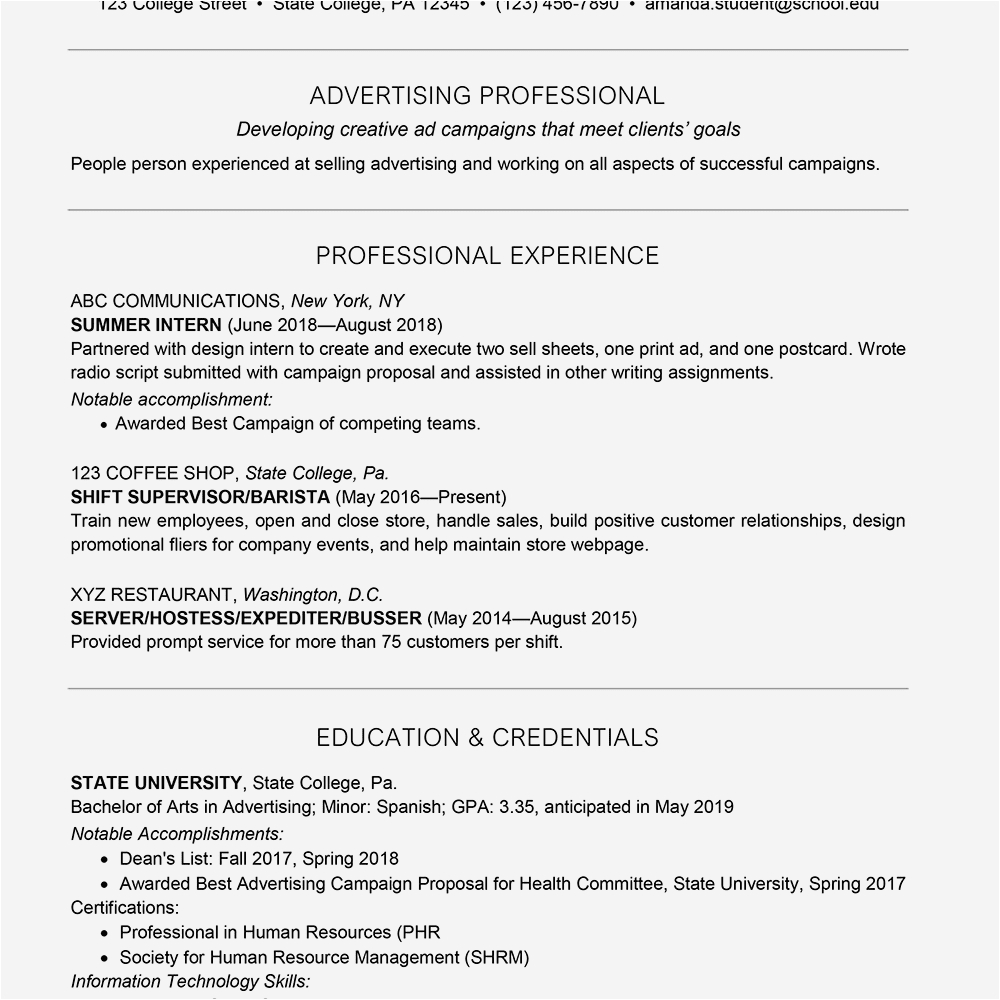 college student resume skills examples