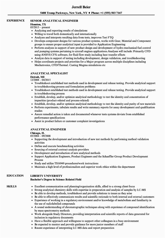 analytical resume sample