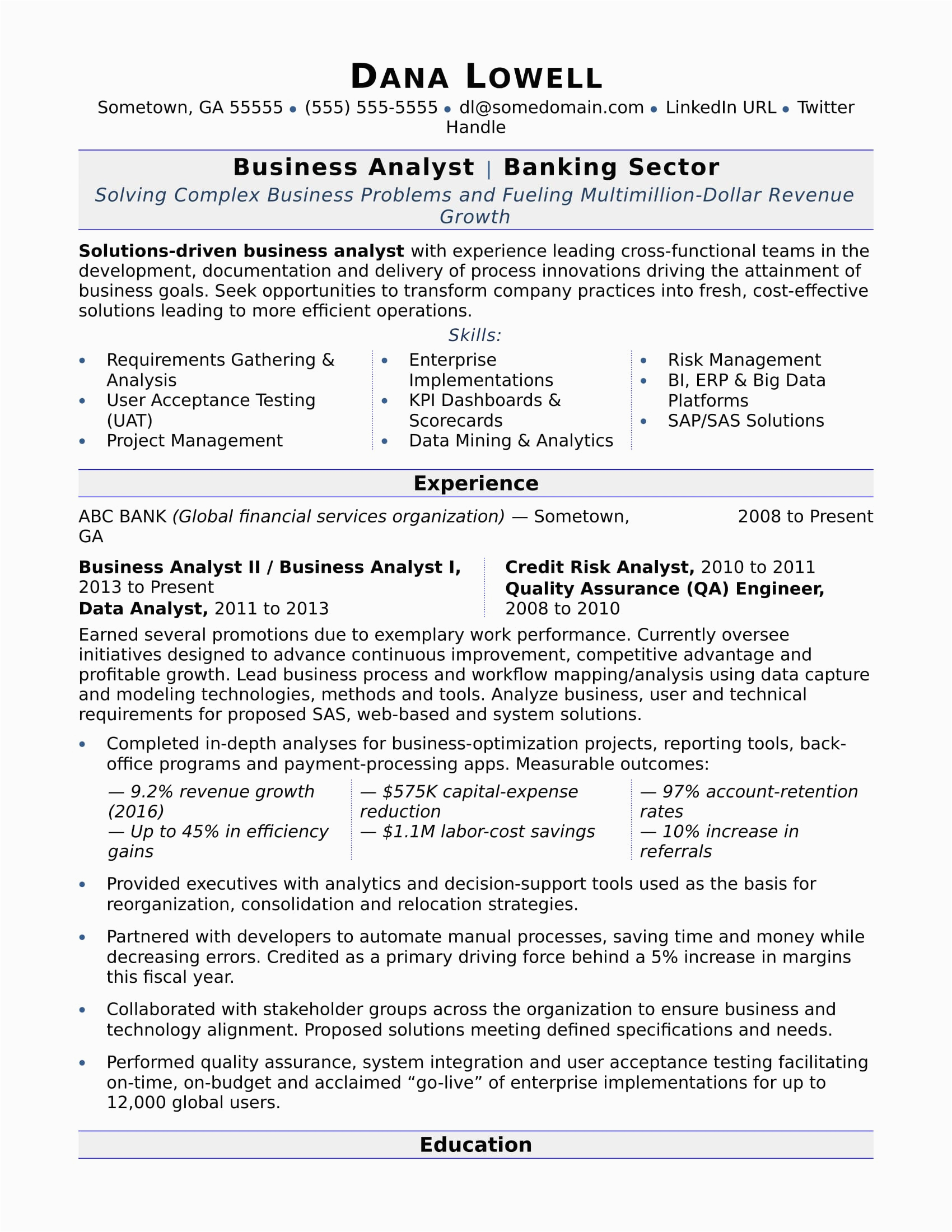 Sample Resume Summary for Business Analyst Business Analyst Resume Sample
