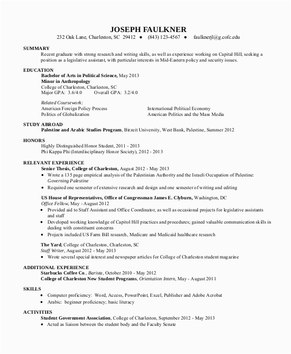 Sample Resume Summary for College Student Free 10 Sample Resume for College Student In Ms Word