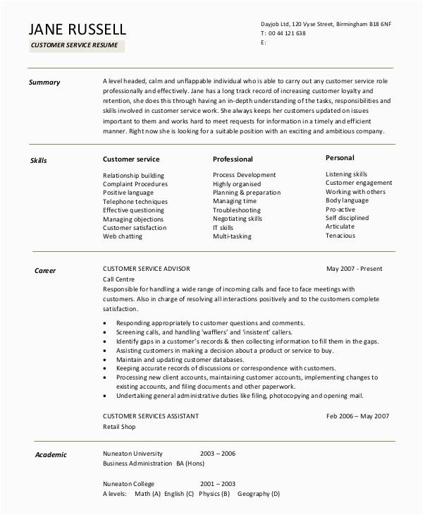Sample Resume Summary Statement for Customer Service Free 9 Sample Resume Summary Statement Templates In Ms