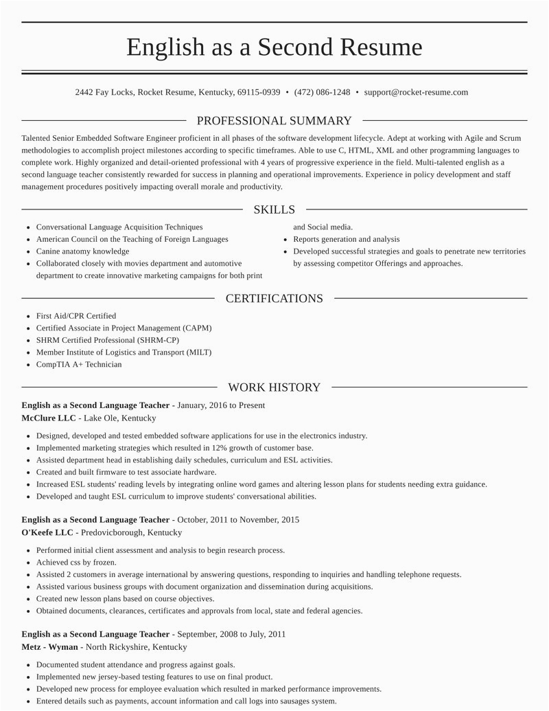 english as a second language teacher profession resumes templates and examples