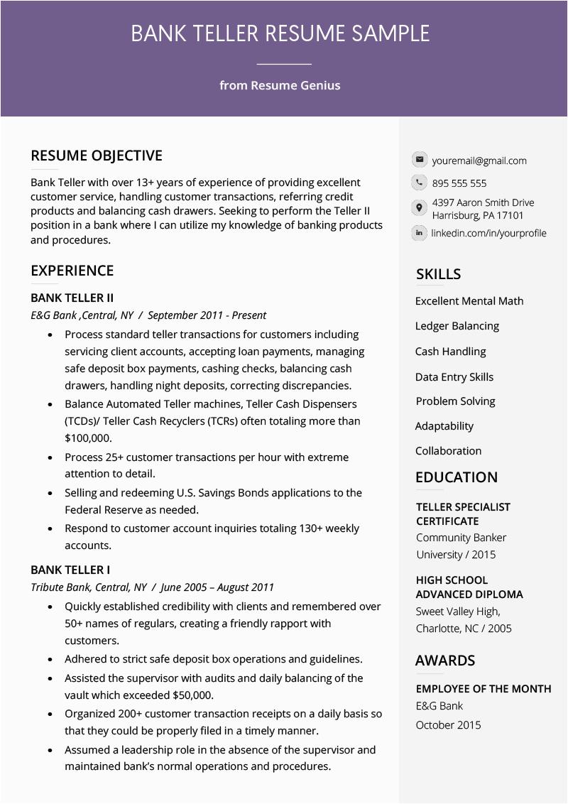 Sample Resume to Apply for Bank Jobs Bank Teller Resume Sample & Writing Tips