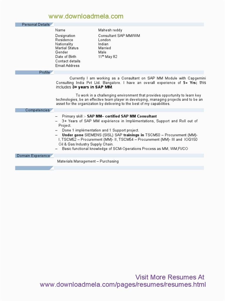 Sap Mm Sample Resume 3 Years Experience Sap Mm Module Resume with 3 Years Experience