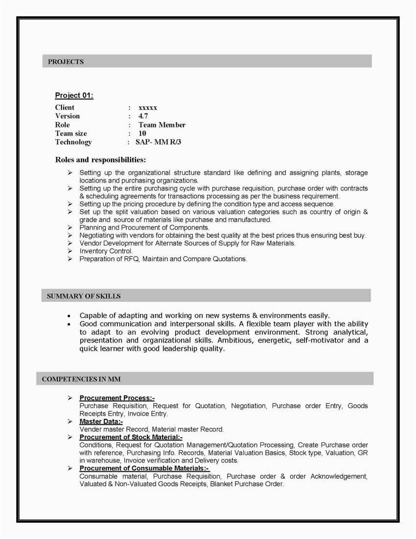 Sap Mm Sample Resume 4 Years Experience Sap Mm Materials Management Sample Resume 10 00 Years