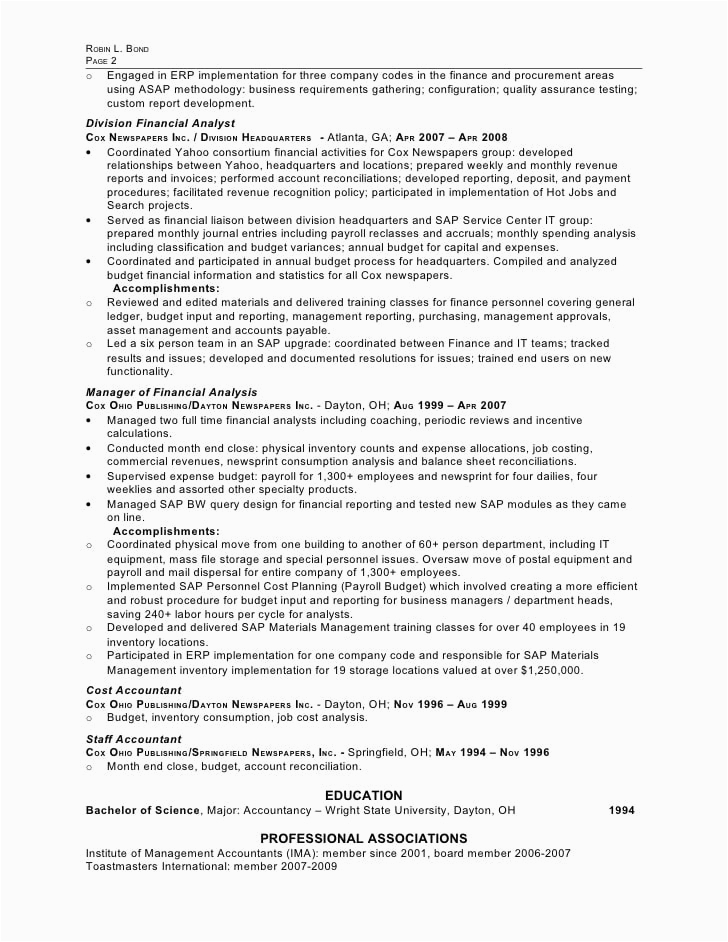 sap erp project manager resume