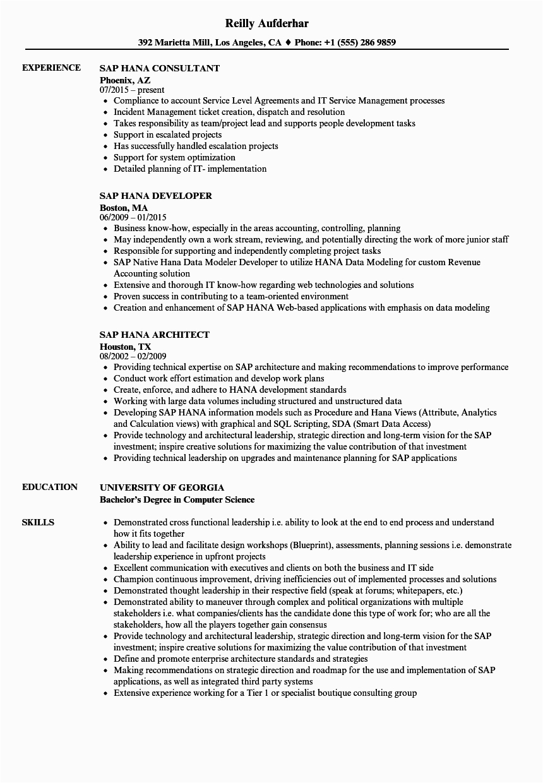 sap hana resume sample