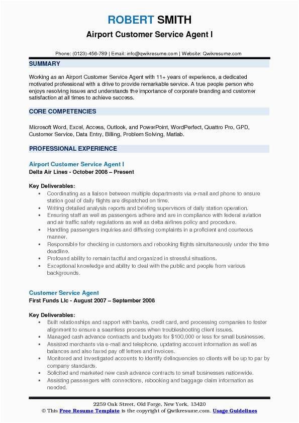 airline customer service resume