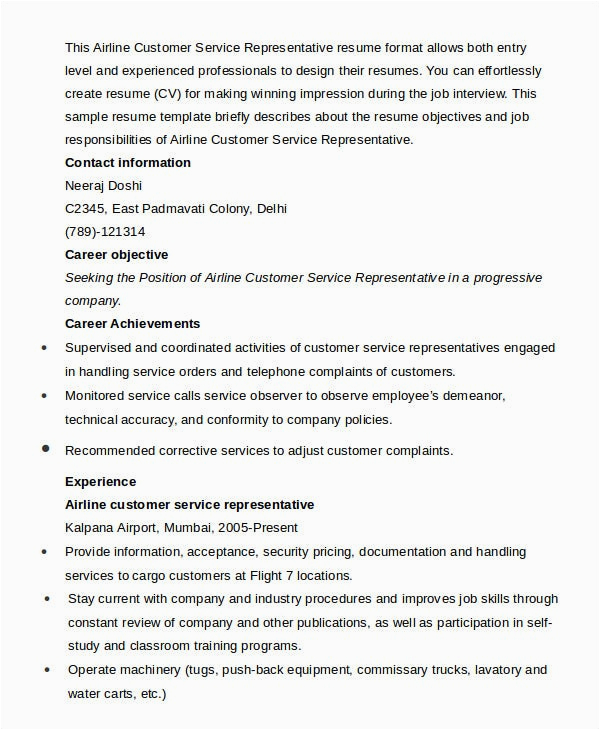 sample customer service representative resume