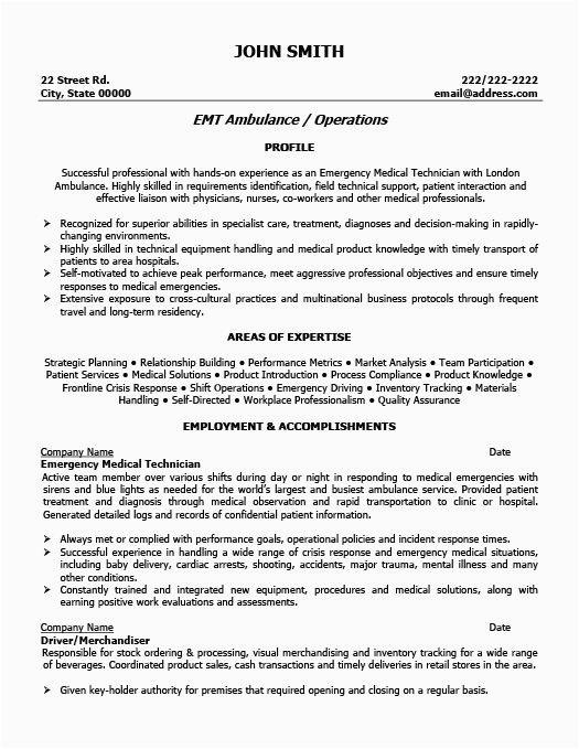 emt basic resume examples