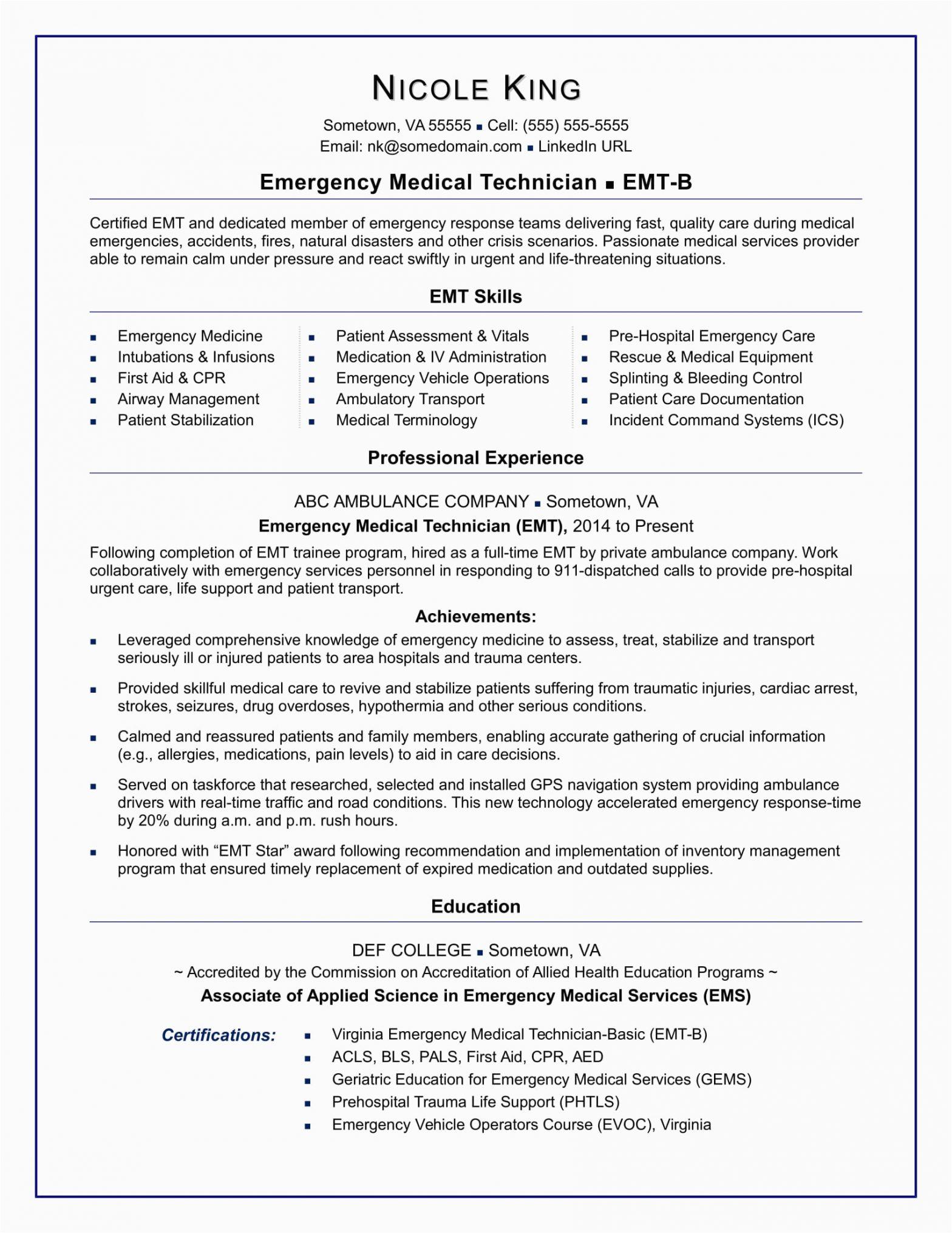 Emt Resume Samples for New Emt Emt Resume Sample