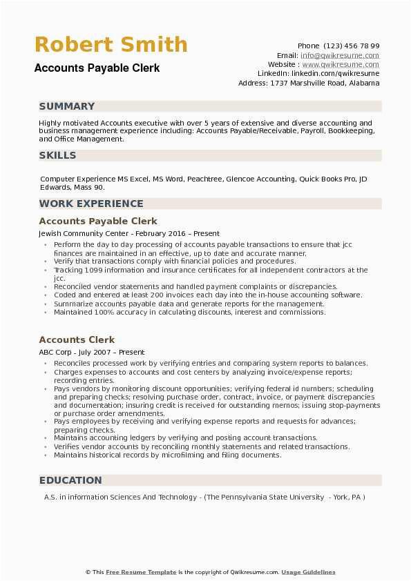 entry level accounting clerk resume sample