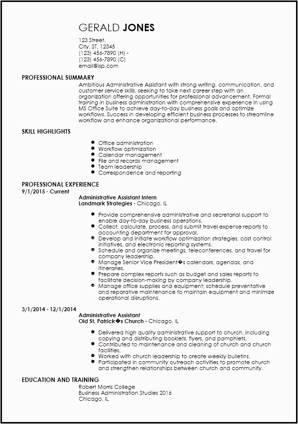 entry level administrative assistant resume template ms word doc docx pdf formatted