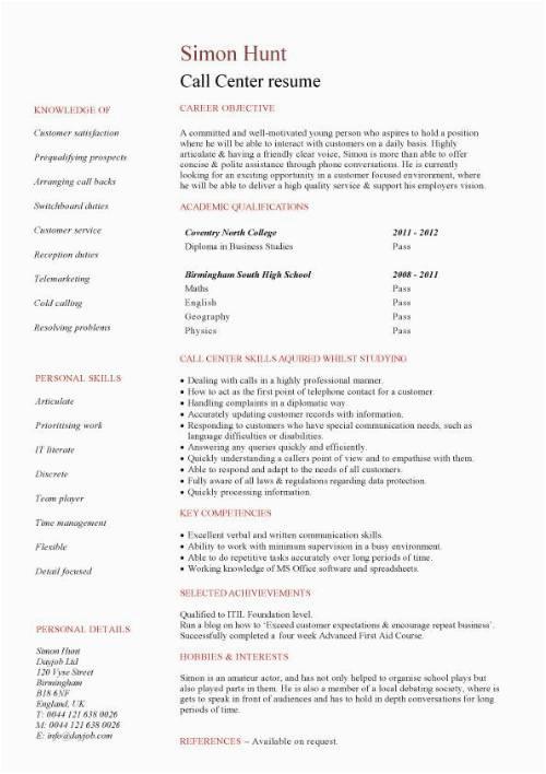 Entry Level Call Center Resume Sample Student Entry Level Call Centre Resume Template