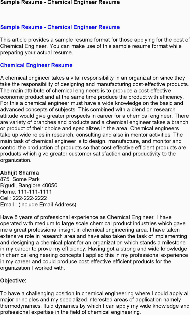 chemical engineer resume templates