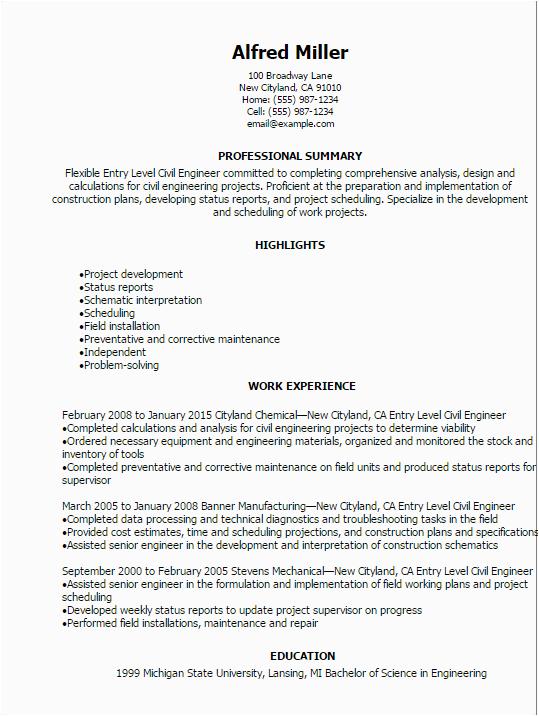 entry level civil engineer resume