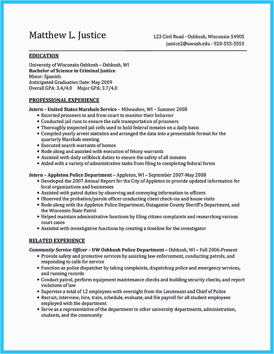 Entry Level Criminal Justice Resume Sample Best Criminal Justice Resume Collection From Professionals
