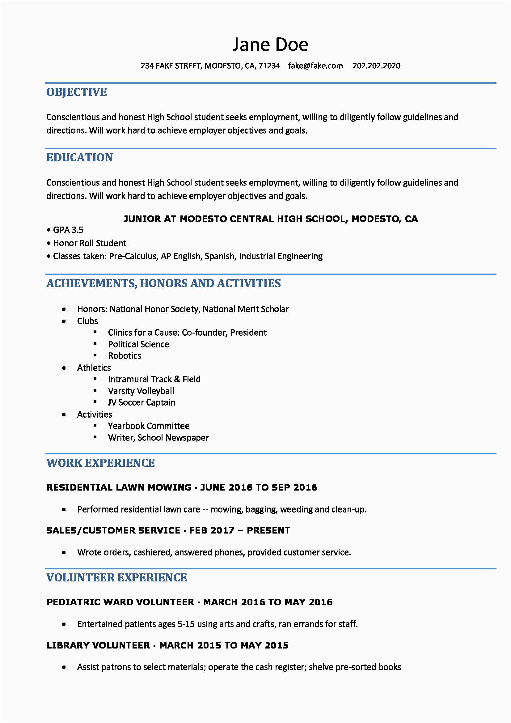 Free Resume Samples for Highschool Students High School Resume Resume Templates for High School