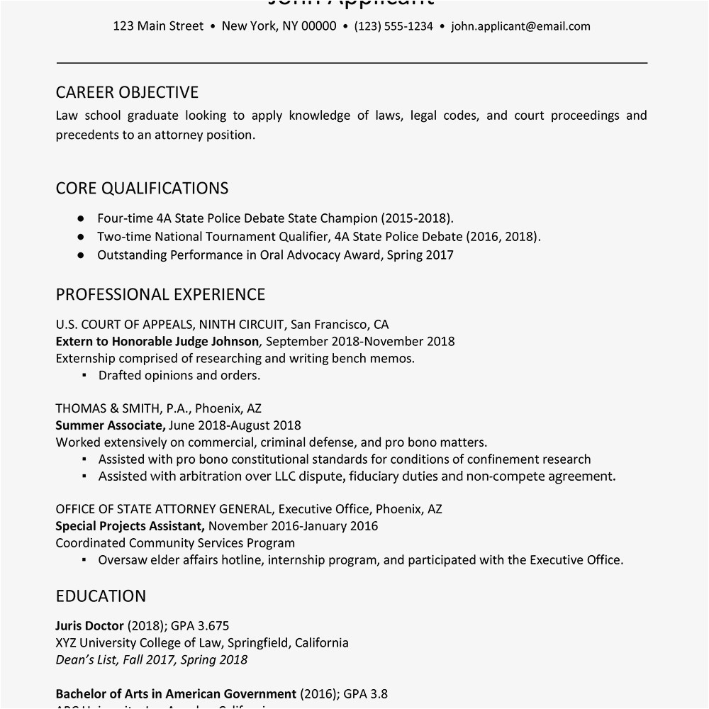 law student resume with no legal experience