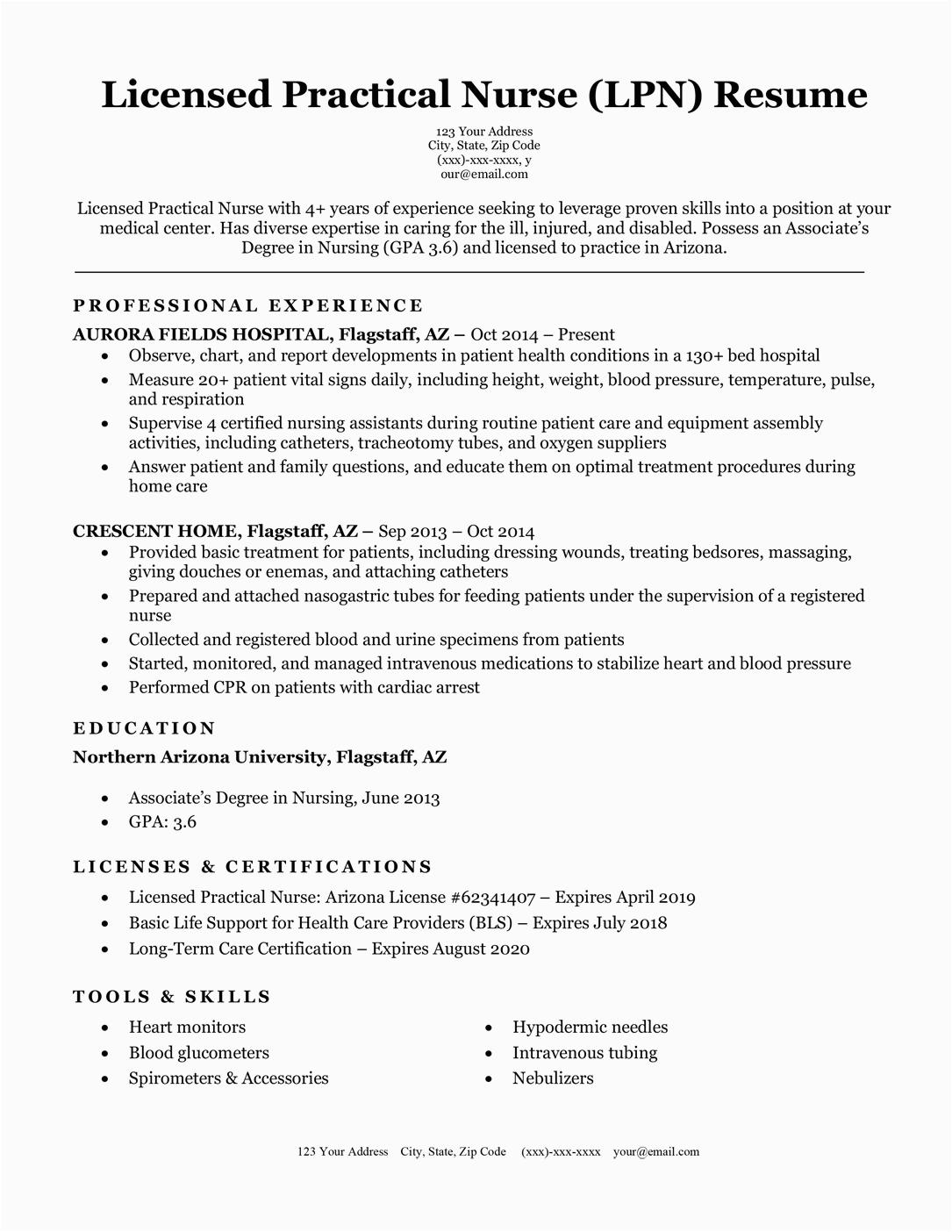 Licensed Practical Nurse Lpn Resume Sample Licensed Practical Nurse Lpn Resume Sample & Writing