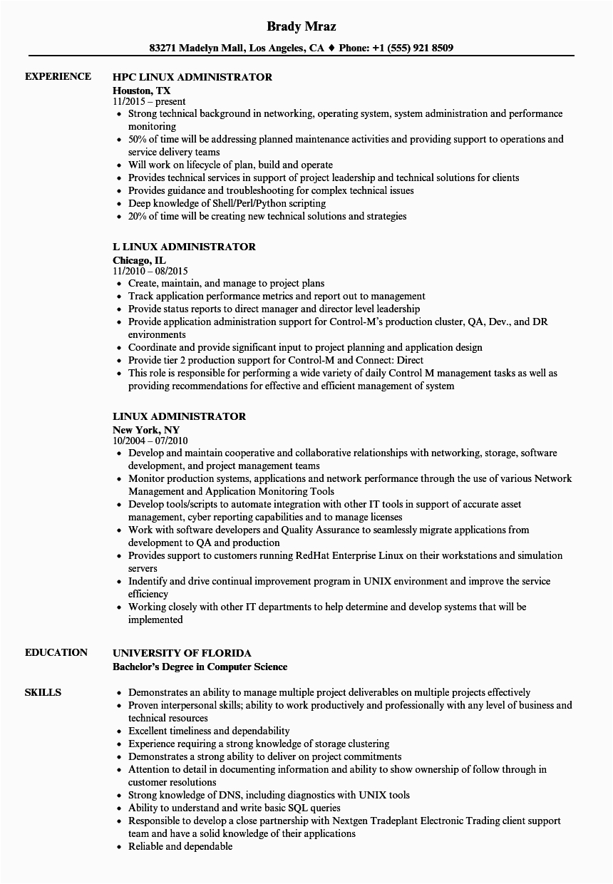 linux administration resume