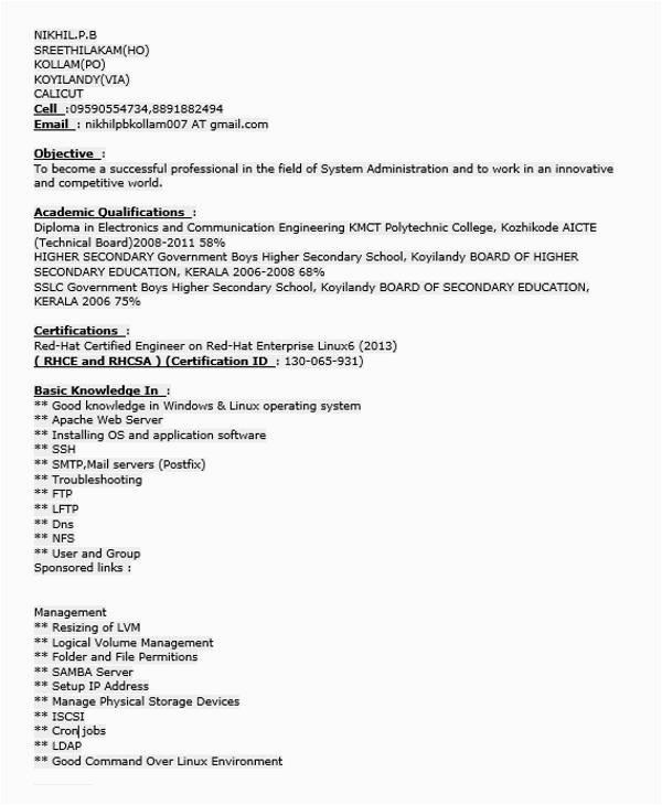 fresher resume examples