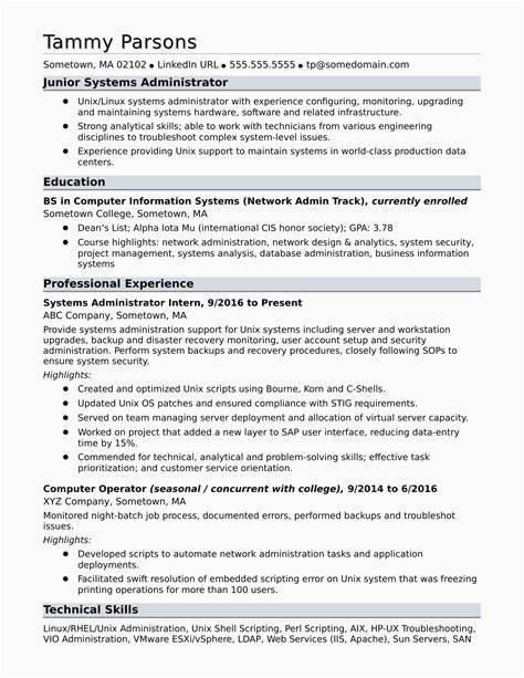 linux admin resume sample