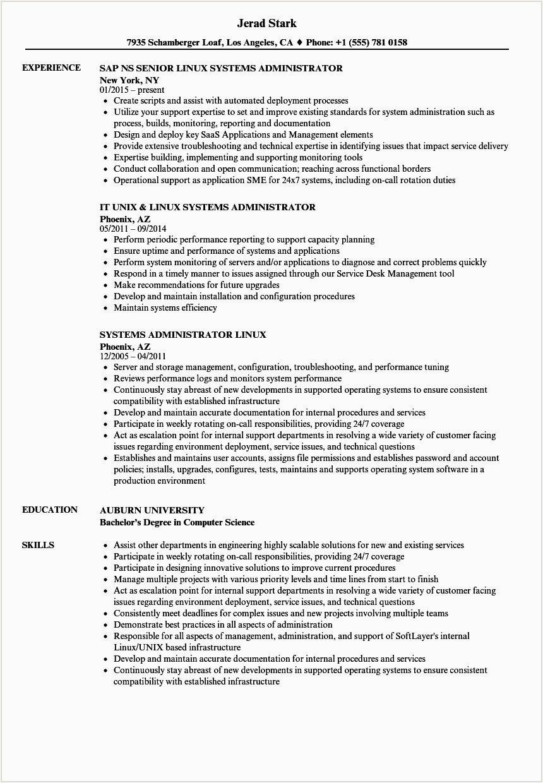 linux administrator resume sample for