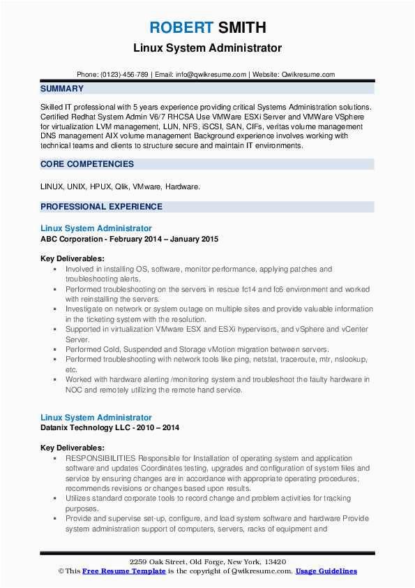 Linux Admin Resume Sample for Freshers Pdf Linux System Administrator Resume Samples