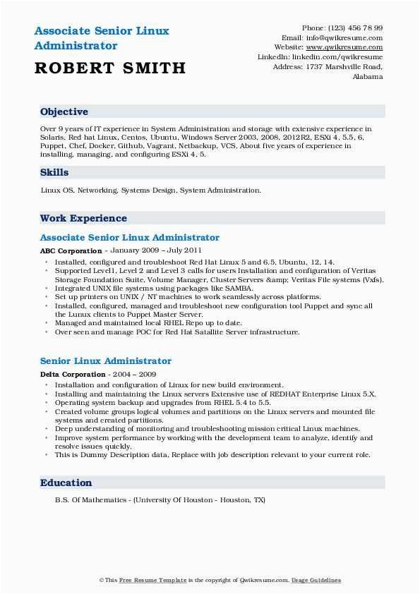 senior linux administrator