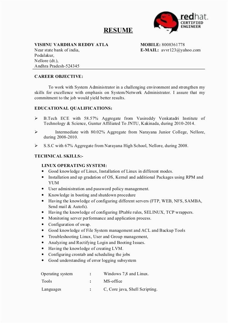 system administrator fresher resume