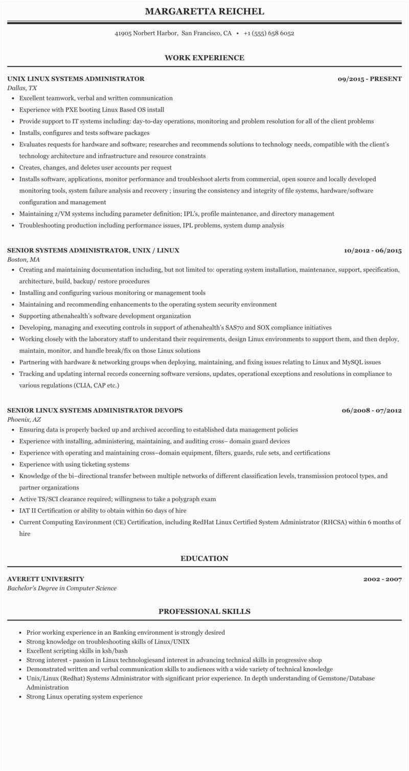 linux engineer resume