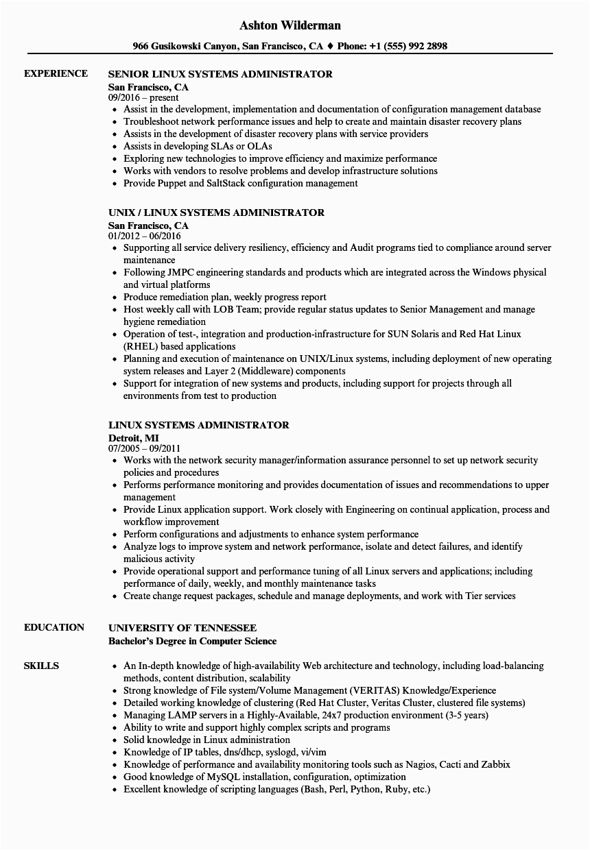 linux systems administrator resume sample