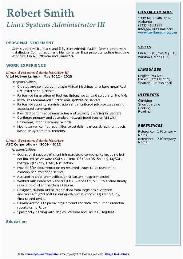 linux systems administrator