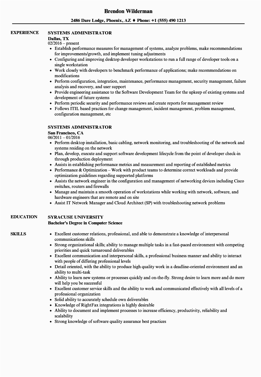 Linux System Administrator Sample Resume 5 Years Experience Systems Administrator Resume Samples
