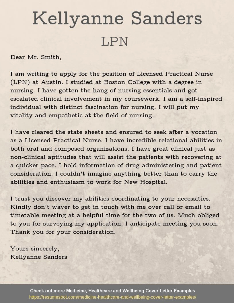 lpn cover letter example