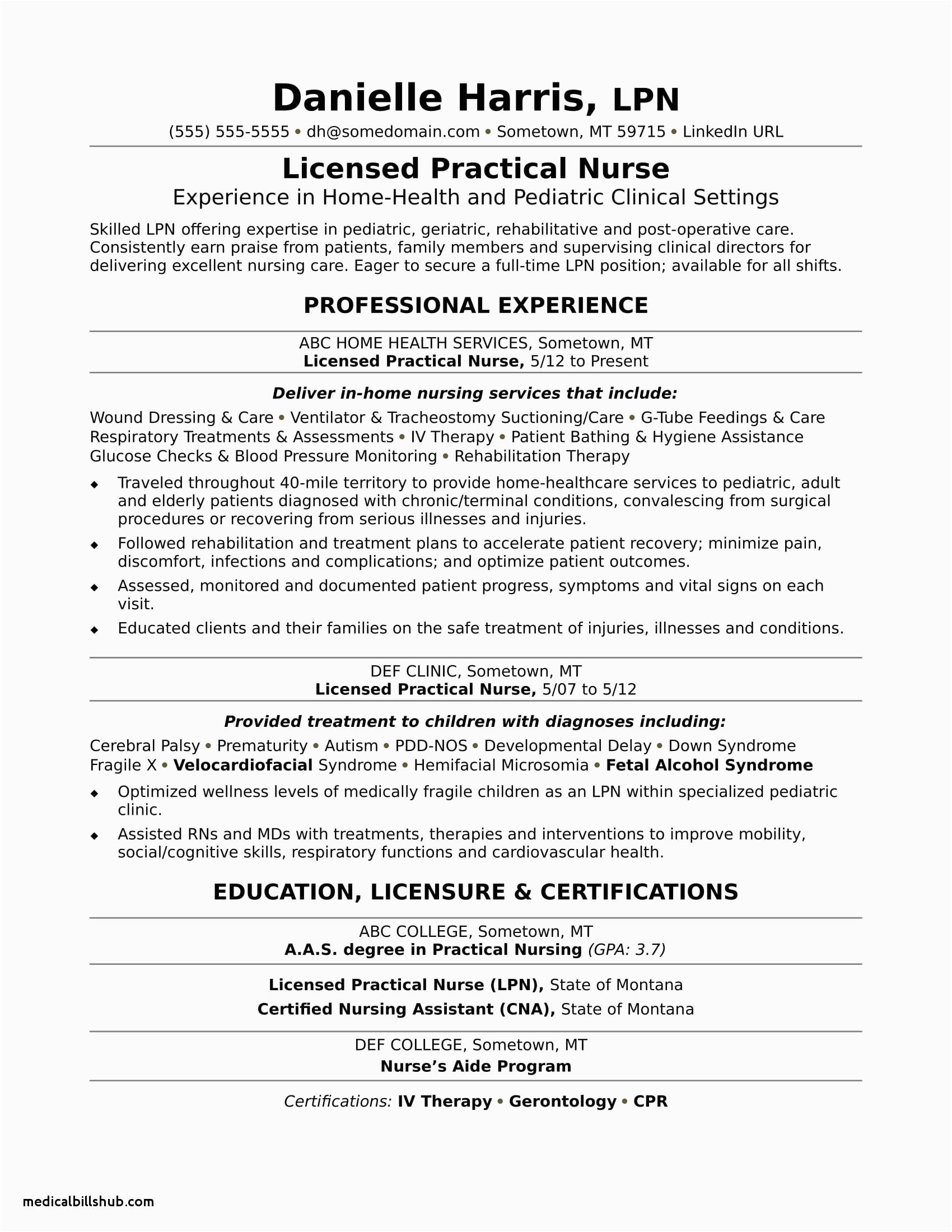 lvn resume sample no experience