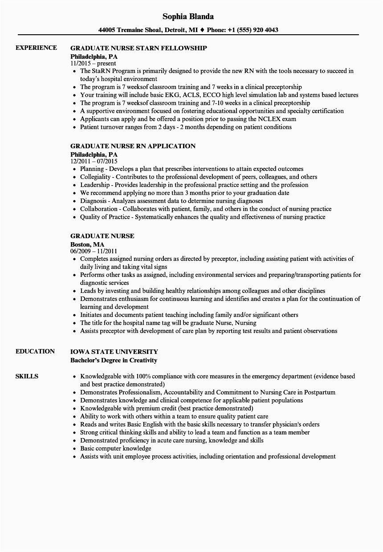 new grad nurse resume graduate nurse resume sample