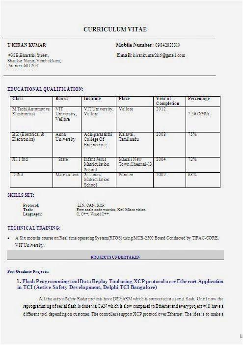 M Tech Resume Sample Free Download M Tech Resume format Resume format