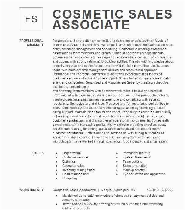cosmetic sales associate 200f29b7795b4cc3ae34e4410c3ea4eb