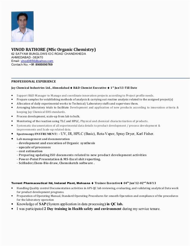 Msc Analytical Chemistry Fresher Resume Sample Msc Chemistry Resume format thesis Web Fc2