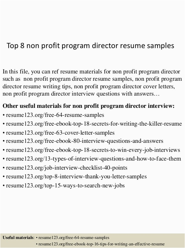 top 8 non profit program director resume samples