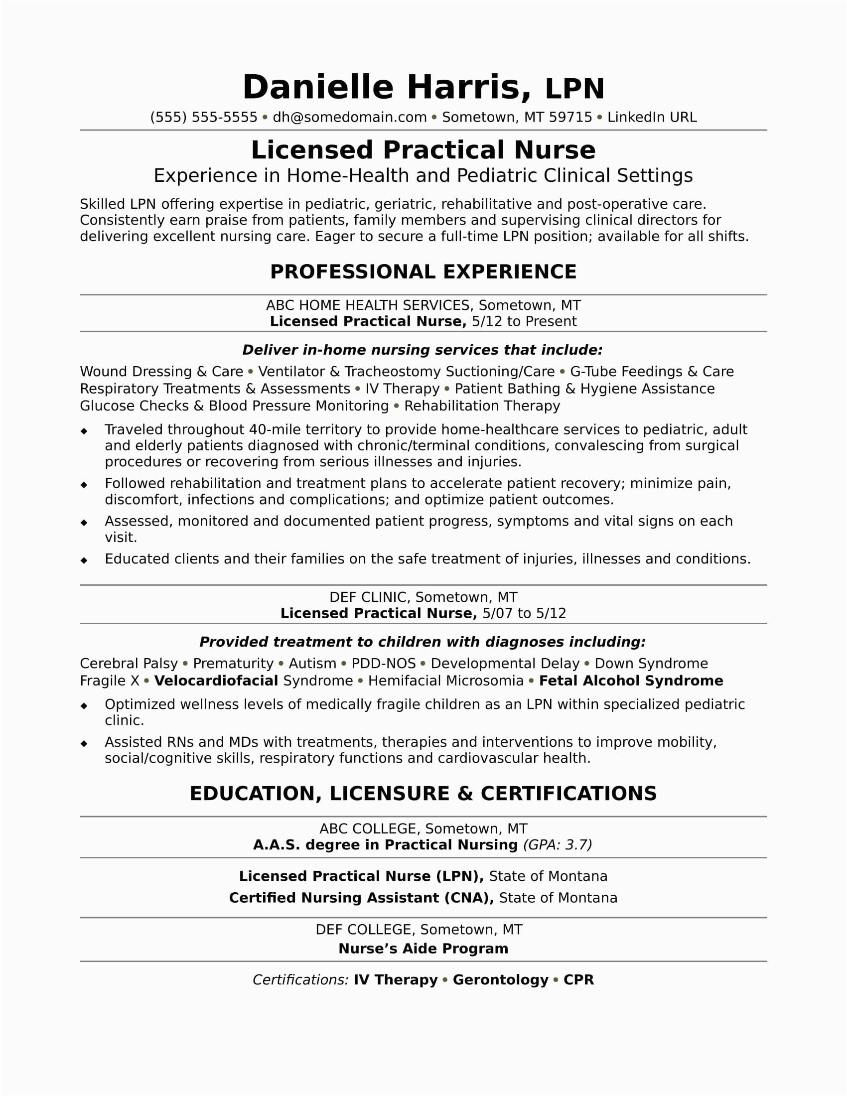 sample resume licensed practical nurse