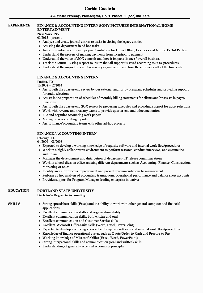 accounting intern resume examples