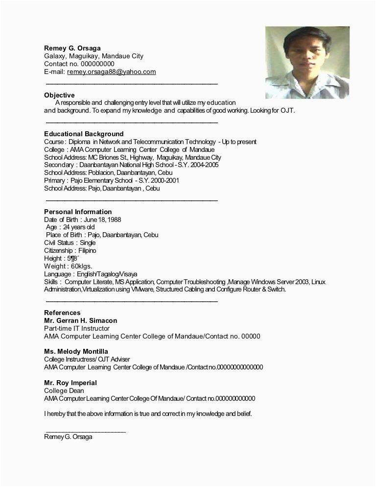 student resume sample for ojt
