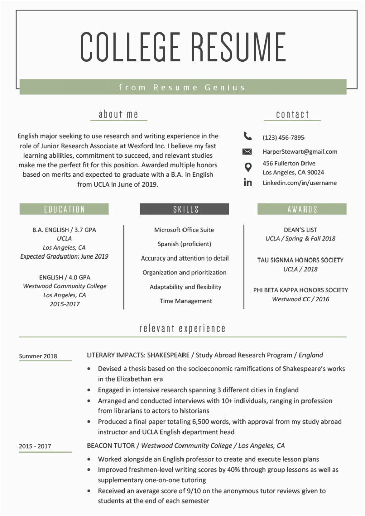 college student resume for part time job 9191