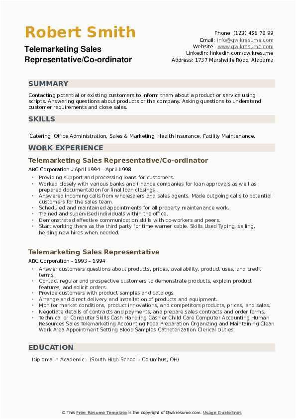 telemarketing sales representative